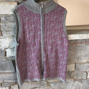 CJ Banks Grey & Purple Zip Down Sweater Vest 1X